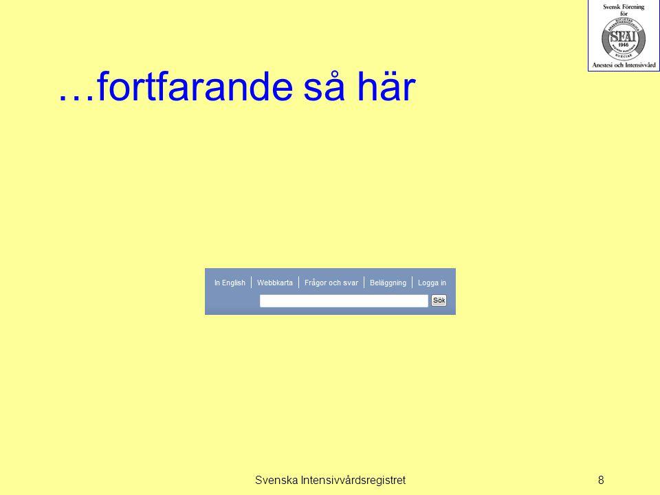 Frågor välkomna! Svenska Intensivvårdsregistret19