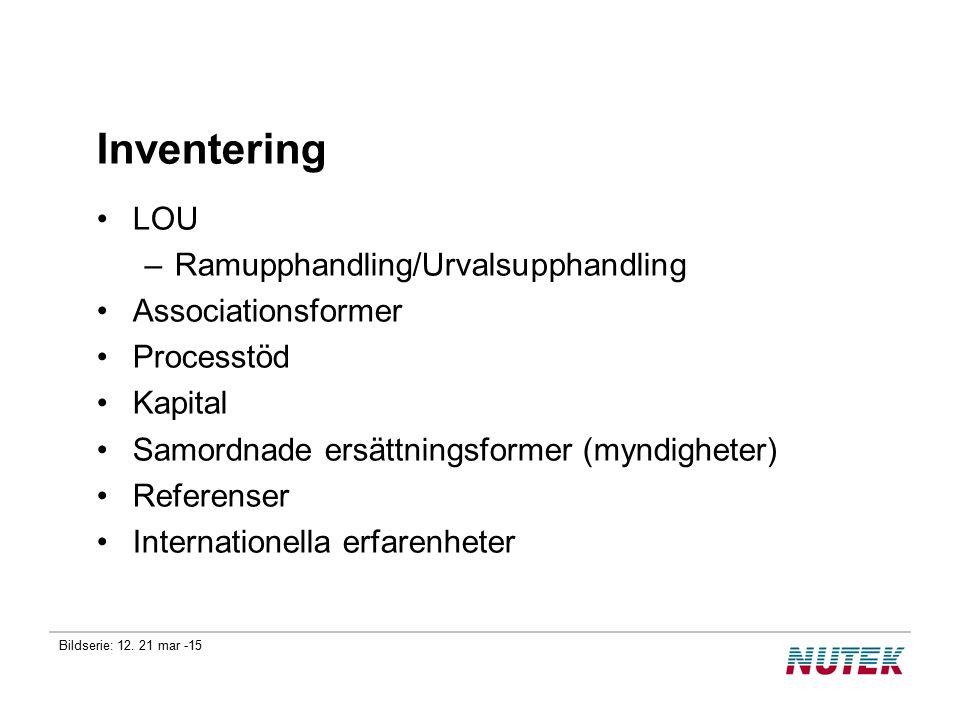 Bildserie: 12. 21 mar -15 Inventering LOU –Ramupphandling/Urvalsupphandling Associationsformer Processtöd Kapital Samordnade ersättningsformer (myndig