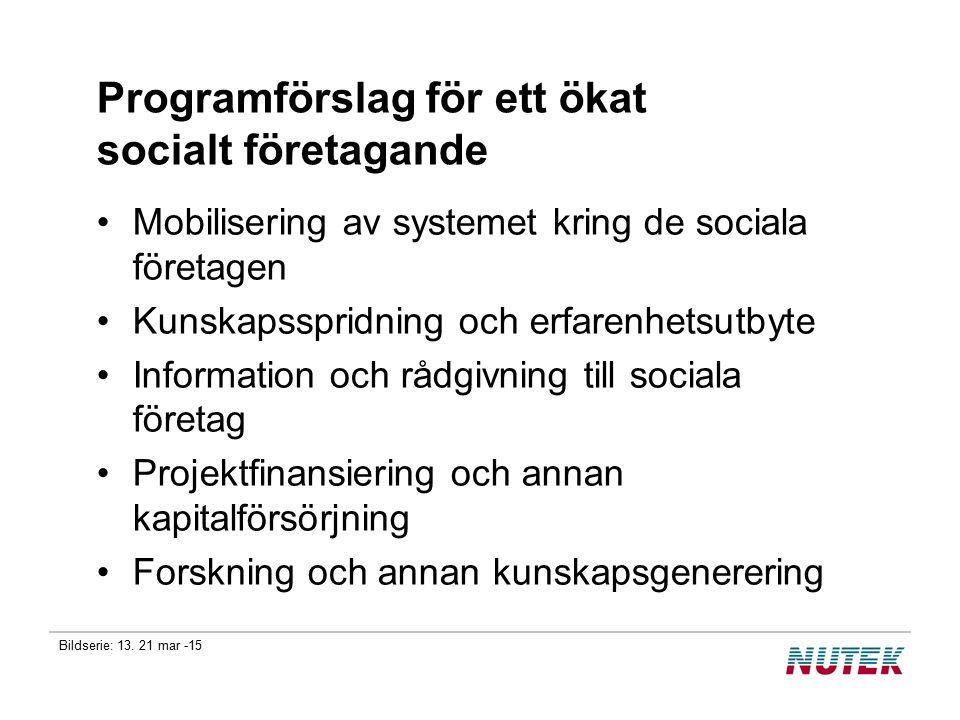 Bildserie: 13. 21 mar -15 Programförslag för ett ökat socialt företagande Mobilisering av systemet kring de sociala företagen Kunskapsspridning och er