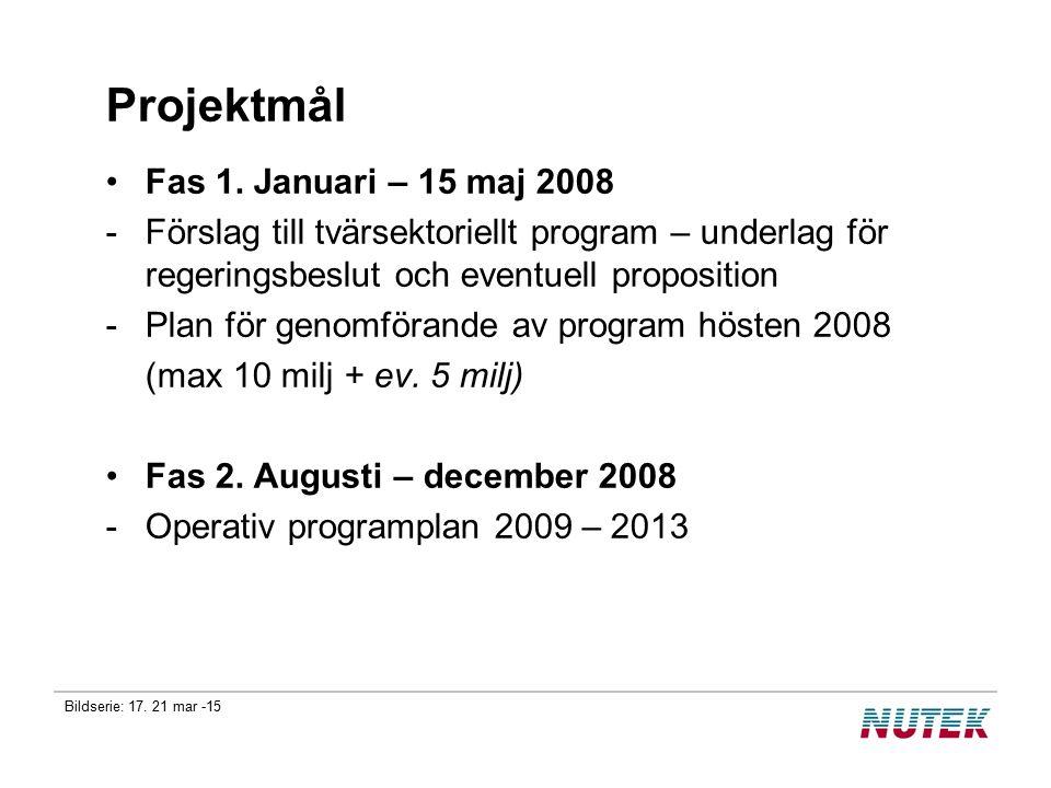 Bildserie: 17. 21 mar -15 Projektmål Fas 1. Januari – 15 maj 2008 -Förslag till tvärsektoriellt program – underlag för regeringsbeslut och eventuell p