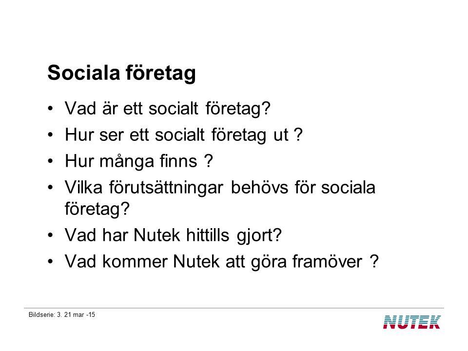 Bildserie: 3. 21 mar -15 Sociala företag Vad är ett socialt företag? Hur ser ett socialt företag ut ? Hur många finns ? Vilka förutsättningar behövs f
