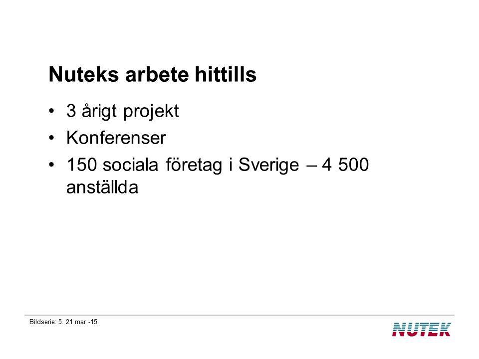 Bildserie: 5. 21 mar -15 Nuteks arbete hittills 3 årigt projekt Konferenser 150 sociala företag i Sverige – 4 500 anställda