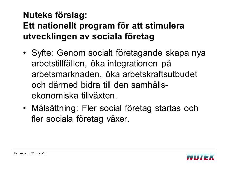 Bildserie: 8. 21 mar -15 Nuteks förslag: Ett nationellt program för att stimulera utvecklingen av sociala företag Syfte: Genom socialt företagande ska