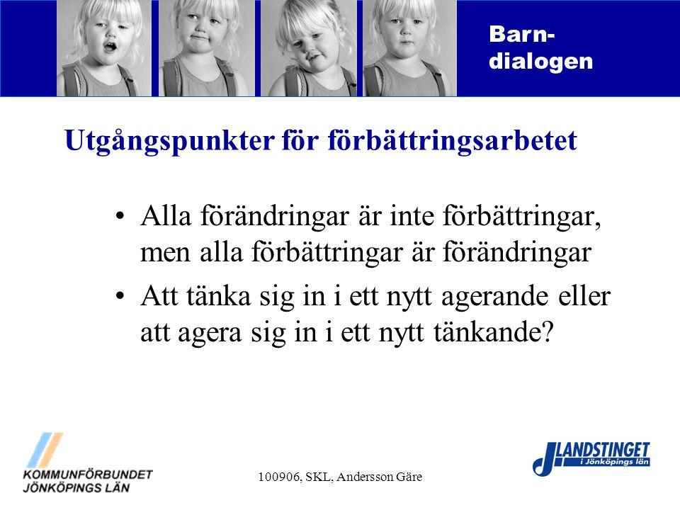 100906, SKL, Andersson Gäre Utgångspunkter för förbättringsarbetet Alla förändringar är inte förbättringar, men alla förbättringar är förändringar Att
