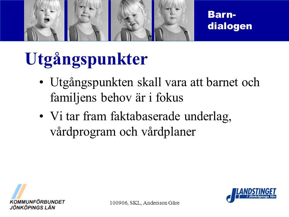 100906, SKL, Andersson Gäre Utgångspunkter Utgångspunkten skall vara att barnet och familjens behov är i fokus Vi tar fram faktabaserade underlag, vår