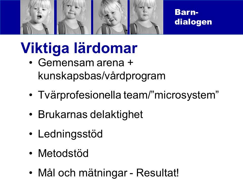 """Viktiga lärdomar Gemensam arena + kunskapsbas/vårdprogram Tvärprofesionella team/""""microsystem"""" Brukarnas delaktighet Ledningsstöd Metodstöd Mål och mä"""