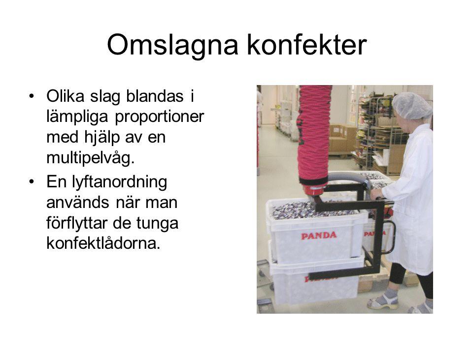 Omslagna konfekter Olika slag blandas i lämpliga proportioner med hjälp av en multipelvåg.