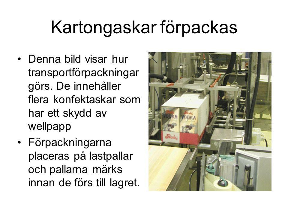 Kartongaskar förpackas Denna bild visar hur transportförpackningar görs.