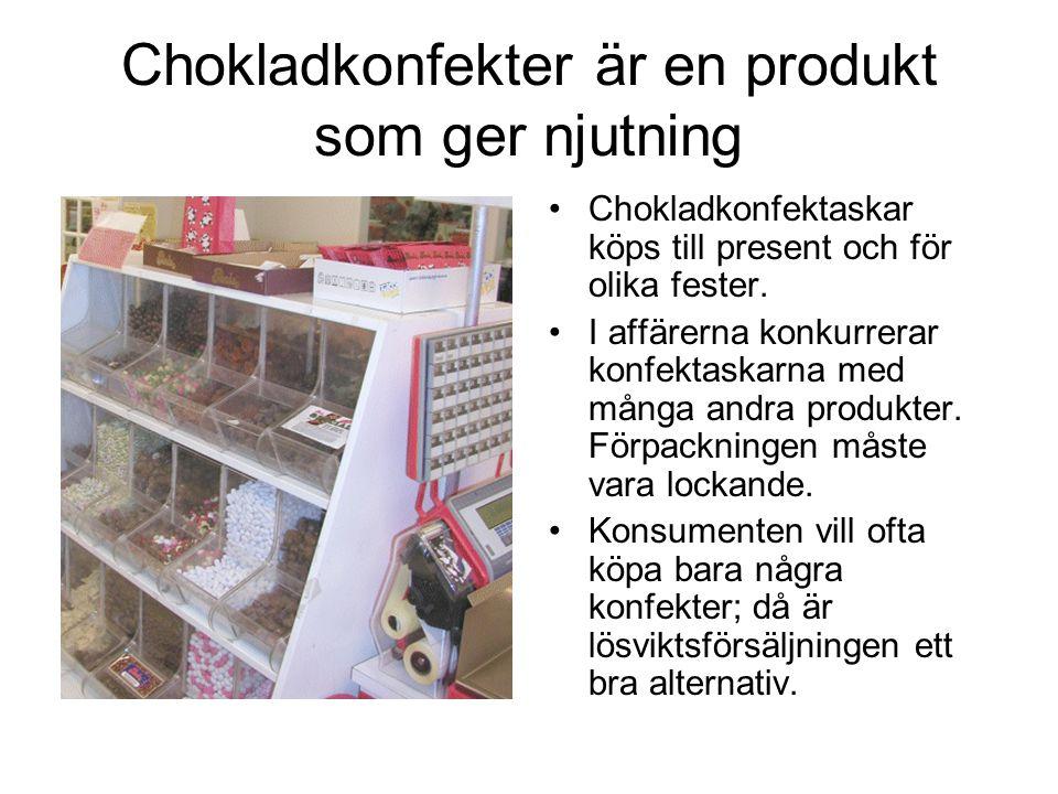 Chokladkonfekter är en produkt som ger njutning Chokladkonfektaskar köps till present och för olika fester.