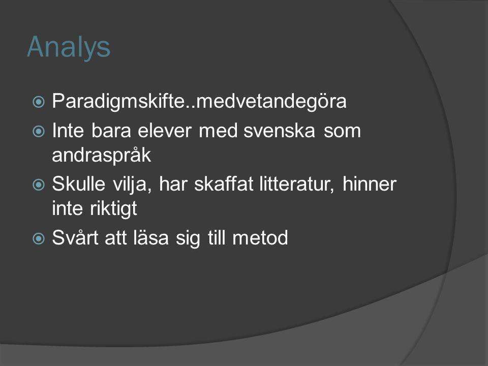 Analys  Paradigmskifte..medvetandegöra  Inte bara elever med svenska som andraspråk  Skulle vilja, har skaffat litteratur, hinner inte riktigt  Svårt att läsa sig till metod