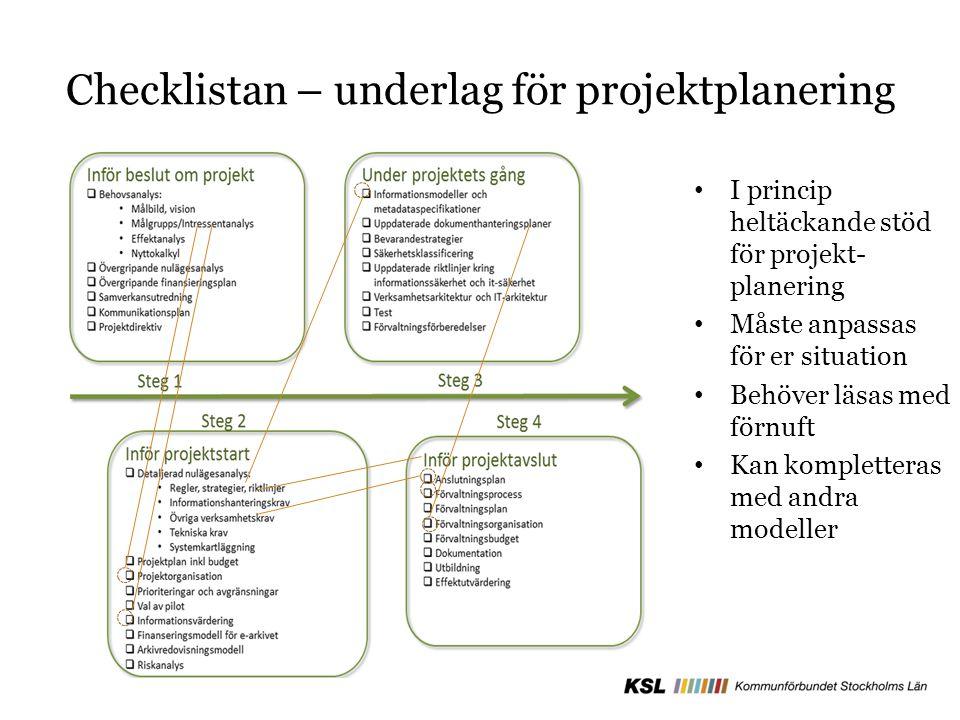 Checklistan – underlag för projektplanering I princip heltäckande stöd för projekt- planering Måste anpassas för er situation Behöver läsas med förnuft Kan kompletteras med andra modeller