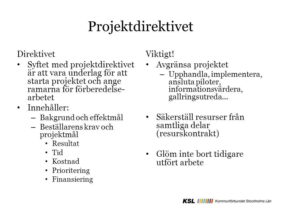 Projektdirektivet Direktivet Syftet med projektdirektivet är att vara underlag för att starta projektet och ange ramarna för förberedelse- arbetet Innehåller: – Bakgrund och effektmål – Beställarens krav och projektmål Resultat Tid Kostnad Prioritering Finansiering Viktigt.