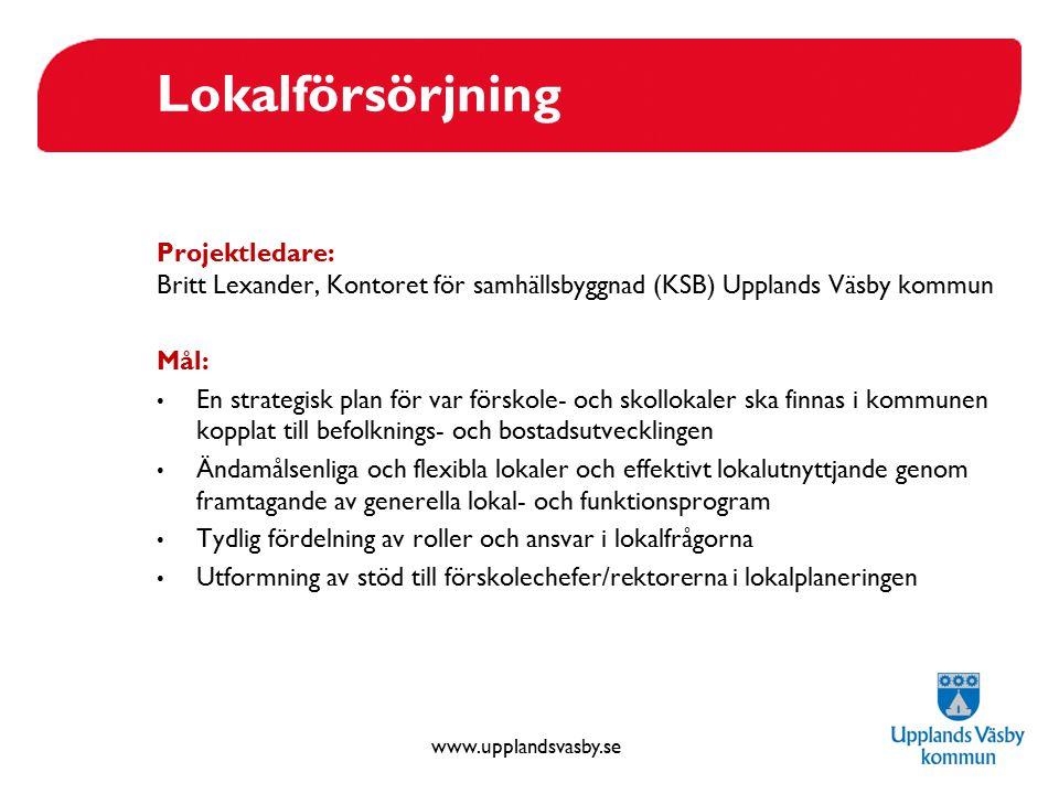 www.upplandsvasby.se Lokalförsörjning Projektledare: Britt Lexander, Kontoret för samhällsbyggnad (KSB) Upplands Väsby kommun Mål: En strategisk plan