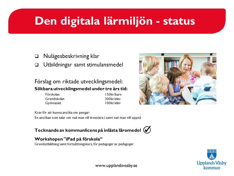 www.upplandsvasby.se Den digitala lärmiljön - status  Nulägesbeskrivning klar  Utbildningar samt stimulansmedel Förslag om riktade utvecklingsmedel: