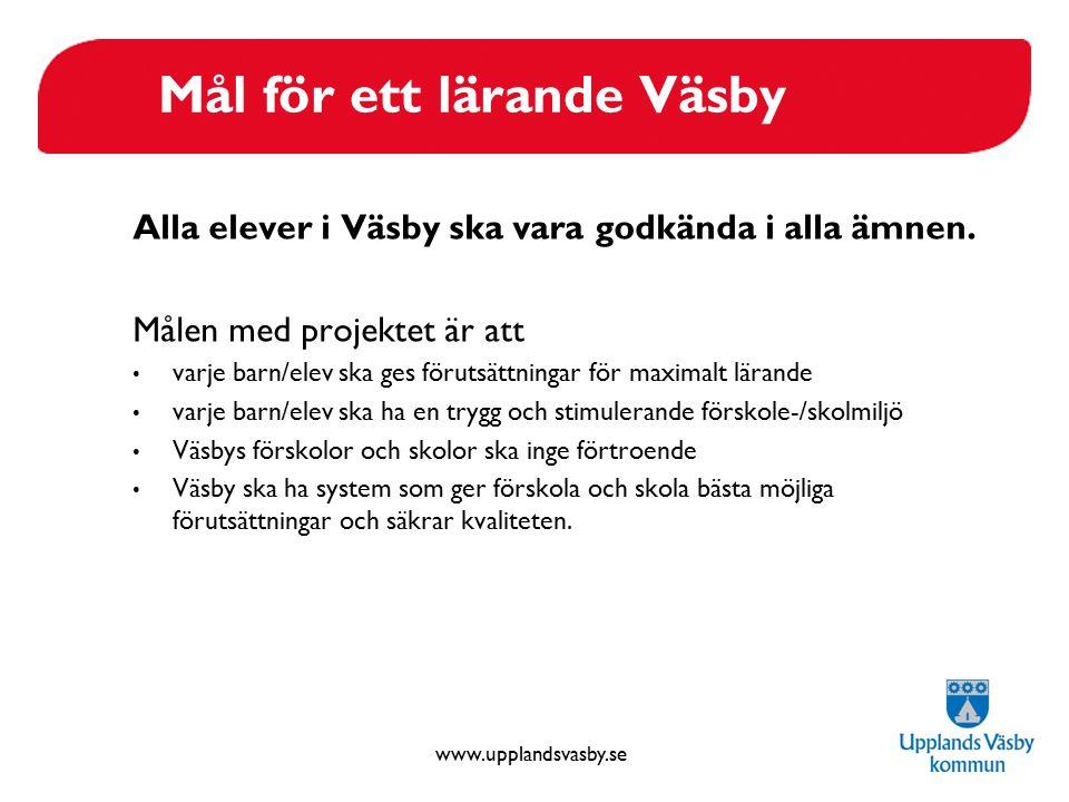 www.upplandsvasby.se Mål för ett lärande Väsby Alla elever i Väsby ska vara godkända i alla ämnen. Målen med projektet är att varje barn/elev ska ges