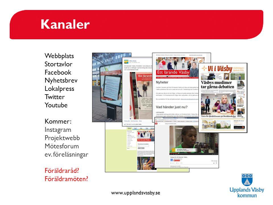 www.upplandsvasby.se Kanaler Webbplats Stortavlor Facebook Nyhetsbrev Lokalpress Twitter Youtube Kommer: Instagram Projektwebb Mötesforum ev. föreläsn