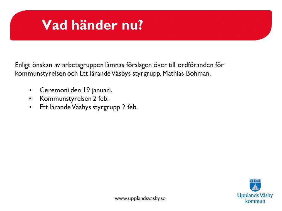 www.upplandsvasby.se Vad händer nu? Enligt önskan av arbetsgruppen lämnas förslagen över till ordföranden för kommunstyrelsen och Ett lärande Väsbys s
