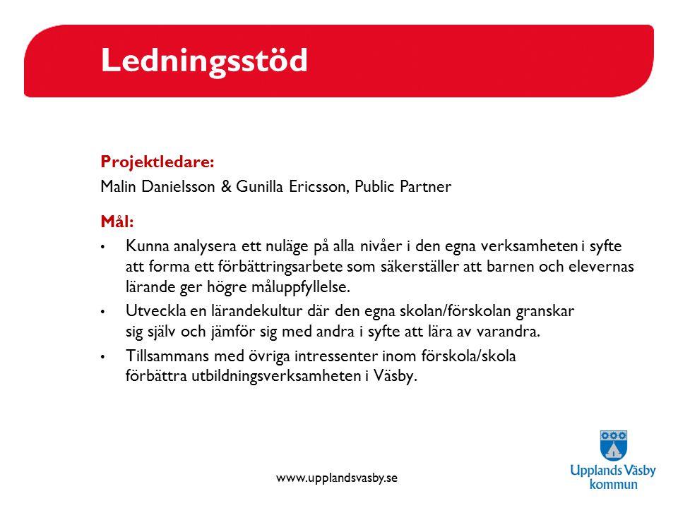 www.upplandsvasby.se Ledningsstöd Projektledare: Malin Danielsson & Gunilla Ericsson, Public Partner Mål: Kunna analysera ett nuläge på alla nivåer i