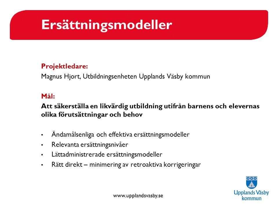 www.upplandsvasby.se Ersättningsmodeller Projektledare: Magnus Hjort, Utbildningsenheten Upplands Väsby kommun Mål: Att säkerställa en likvärdig utbil