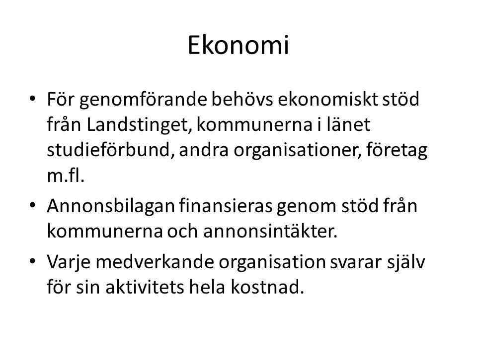 Ekonomi För genomförande behövs ekonomiskt stöd från Landstinget, kommunerna i länet studieförbund, andra organisationer, företag m.fl. Annonsbilagan