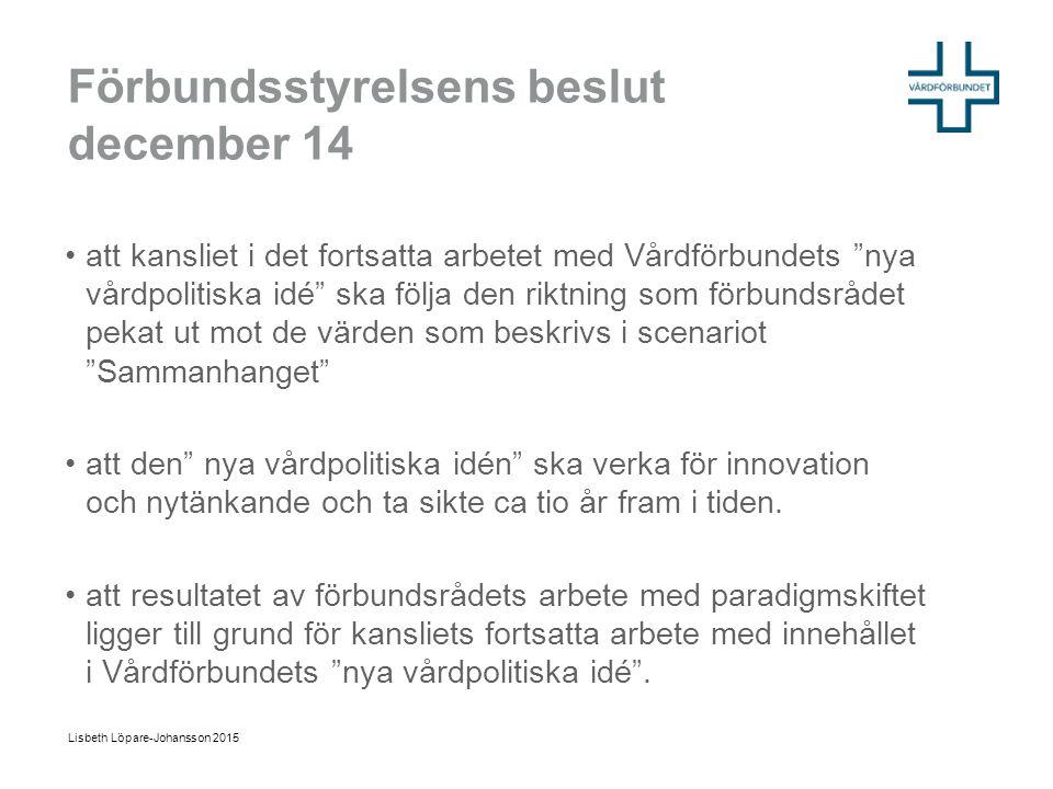 """Förbundsstyrelsens beslut december 14 att kansliet i det fortsatta arbetet med Vårdförbundets """"nya vårdpolitiska idé"""" ska följa den riktning som förbu"""