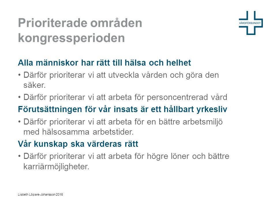 Struktur på Vårdförbundets idé om vården Lisbeth Löpare-Johansson 2015 Värdegrund / jämlik hälsa Varför.