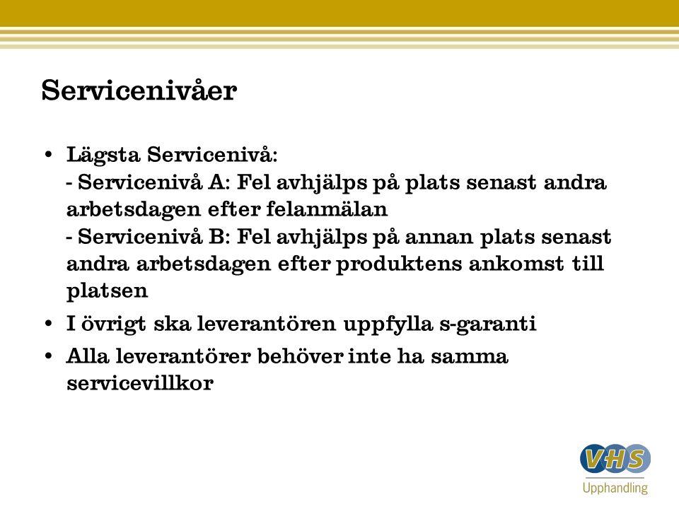 Servicenivåer Lägsta Servicenivå: - Servicenivå A: Fel avhjälps på plats senast andra arbetsdagen efter felanmälan - Servicenivå B: Fel avhjälps på an