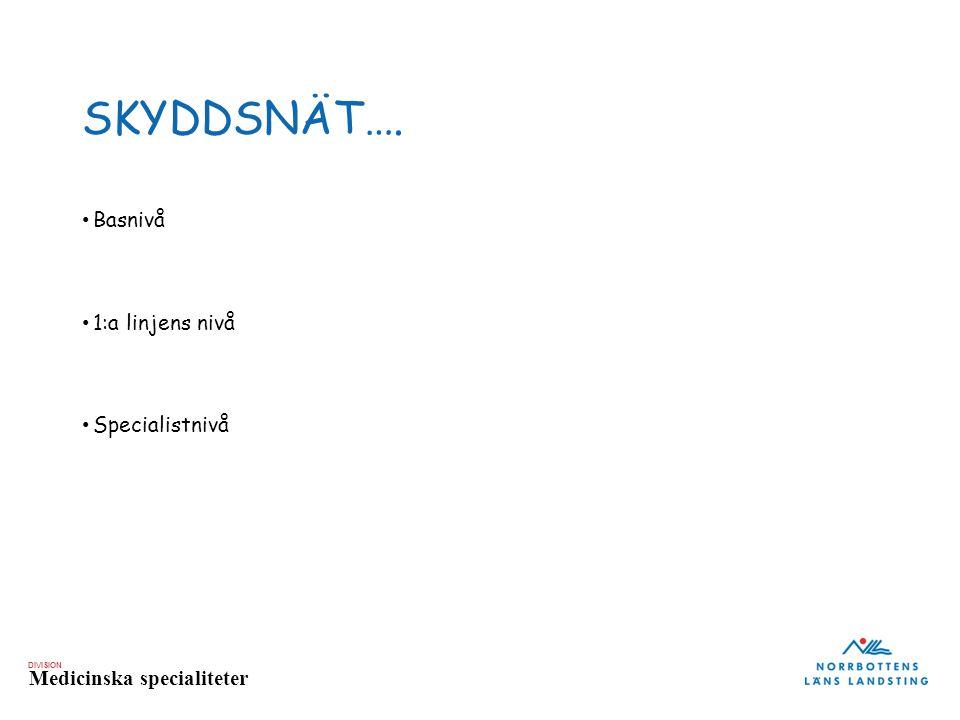 DIVISION Medicinska specialiteter SKYDDSNÄT…. Basnivå 1:a linjens nivå Specialistnivå