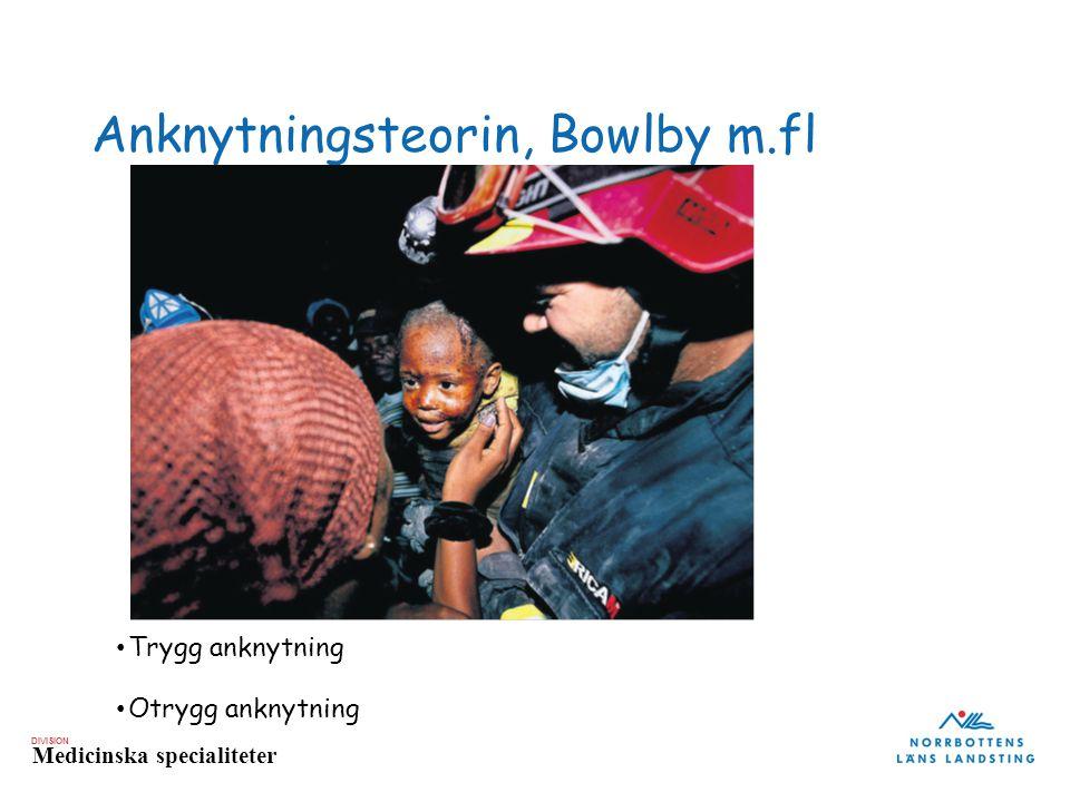 DIVISION Medicinska specialiteter Anknytningsteorin, Bowlby m.fl Trygg anknytning Otrygg anknytning