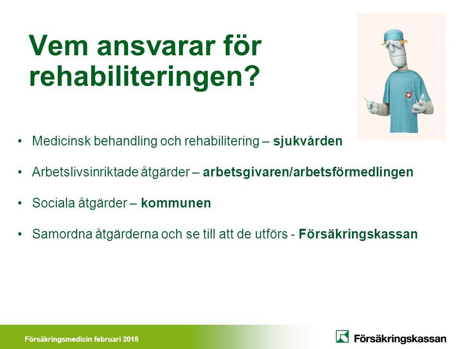 Försäkringsmedicin februari 2015 Vem ansvarar för rehabiliteringen.