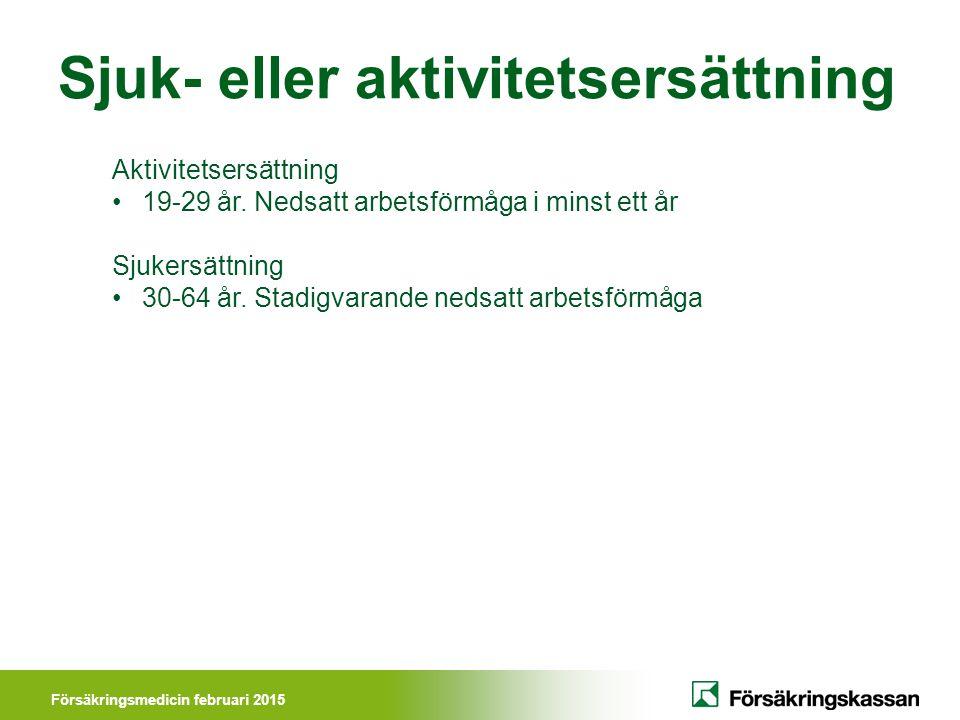 Försäkringsmedicin februari 2015 Sjuk- eller aktivitetsersättning Aktivitetsersättning 19-29 år.