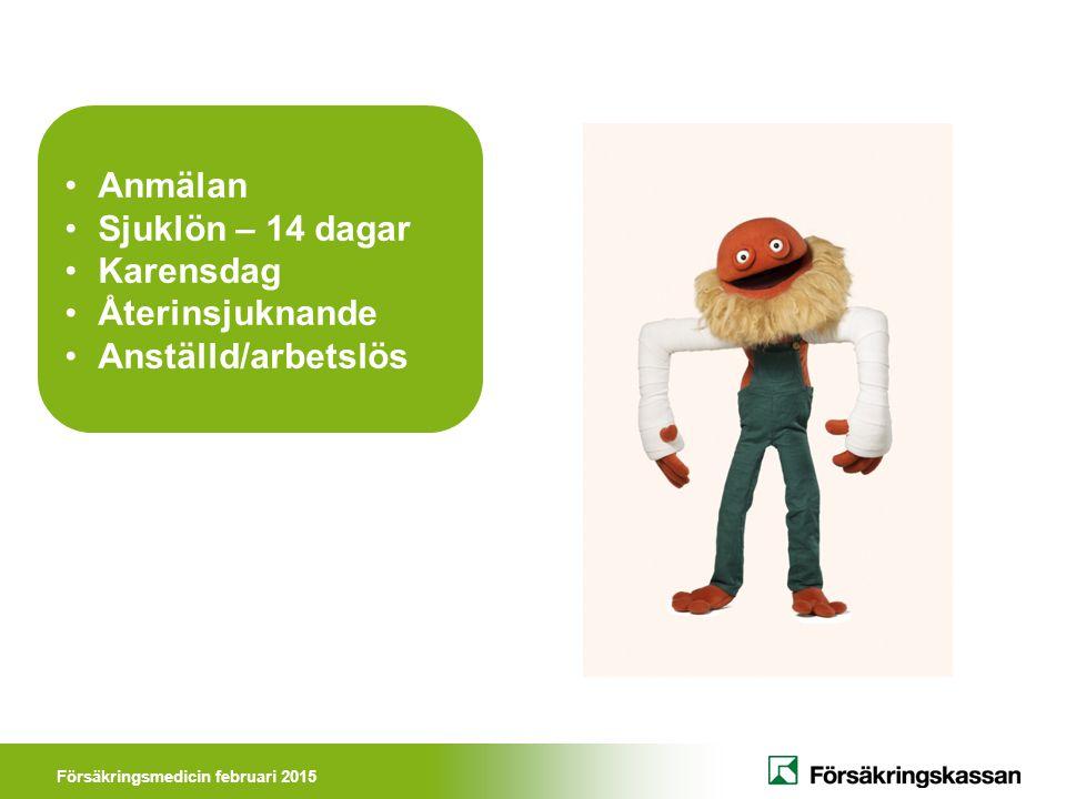 Försäkringsmedicin februari 2015 Läkarintyg Om du är borta mer än 7 dagar måste du ha ett läkarintyg Utfärdas av behandlande läkare som i läkarintyget bland annat ska uttala sig om: Diagnos Funktionsnedsättning Aktivitetsbegränsning DFA-kedjan