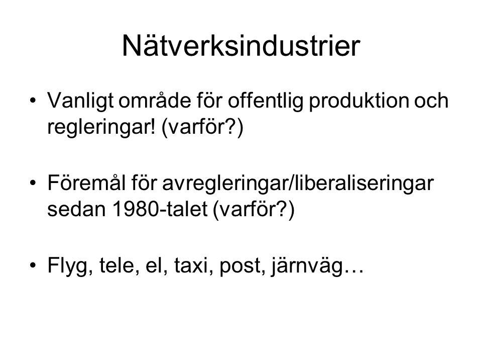 Nätverksindustrier Vanligt område för offentlig produktion och regleringar.