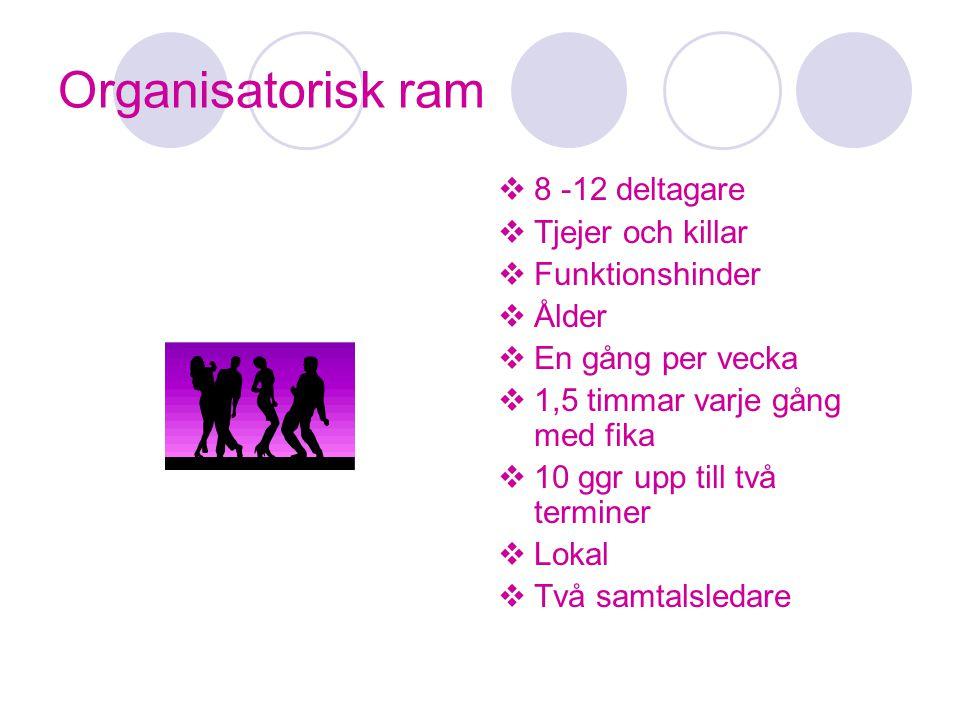 Organisatorisk ram  8 -12 deltagare  Tjejer och killar  Funktionshinder  Ålder  En gång per vecka  1,5 timmar varje gång med fika  10 ggr upp t