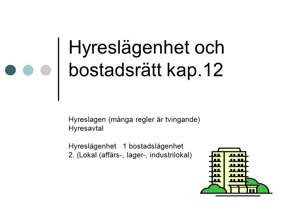 Bostadsrätt (reglerat i bostadsrättslagen) Äger ej bostaden Har en andel i bostadsrättsföreningen (i förmögenheten) Vanliga bostadsrättsföreningar är HSB, Riksbyggen och SBC.
