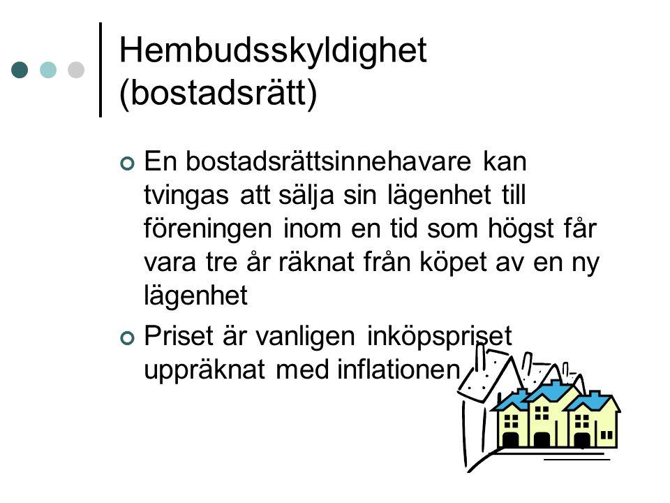 Hembudsskyldighet (bostadsrätt) En bostadsrättsinnehavare kan tvingas att sälja sin lägenhet till föreningen inom en tid som högst får vara tre år räk