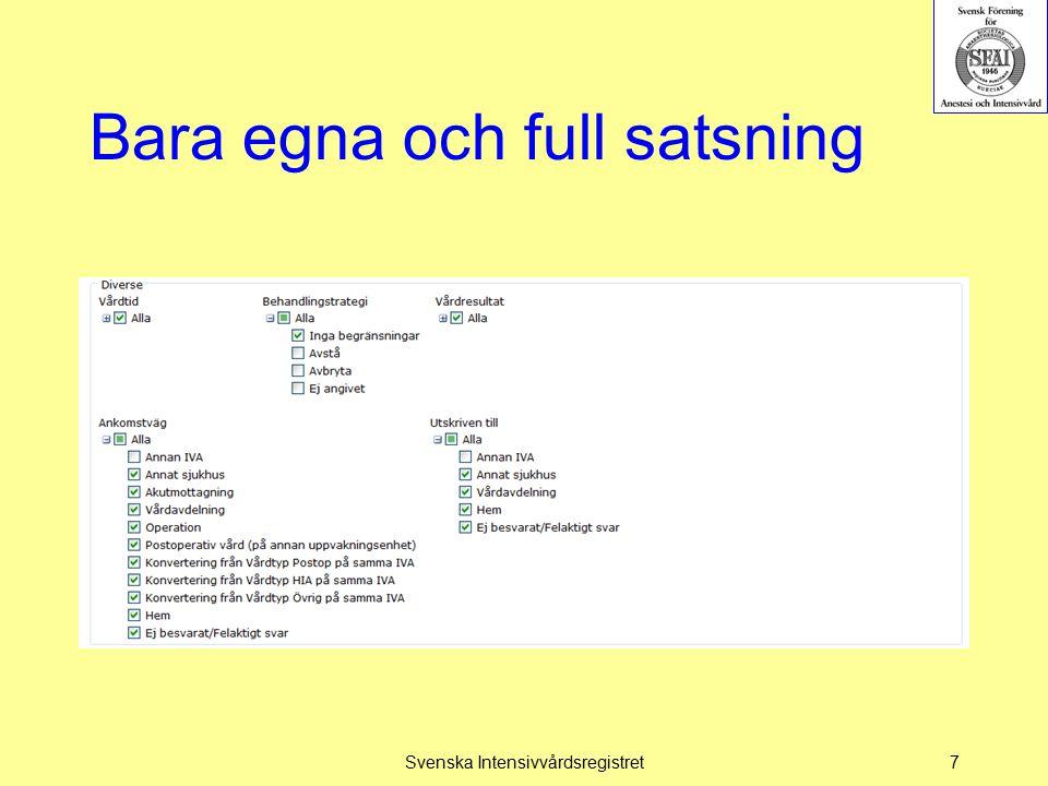 Bara egna och full satsning Svenska Intensivvårdsregistret7