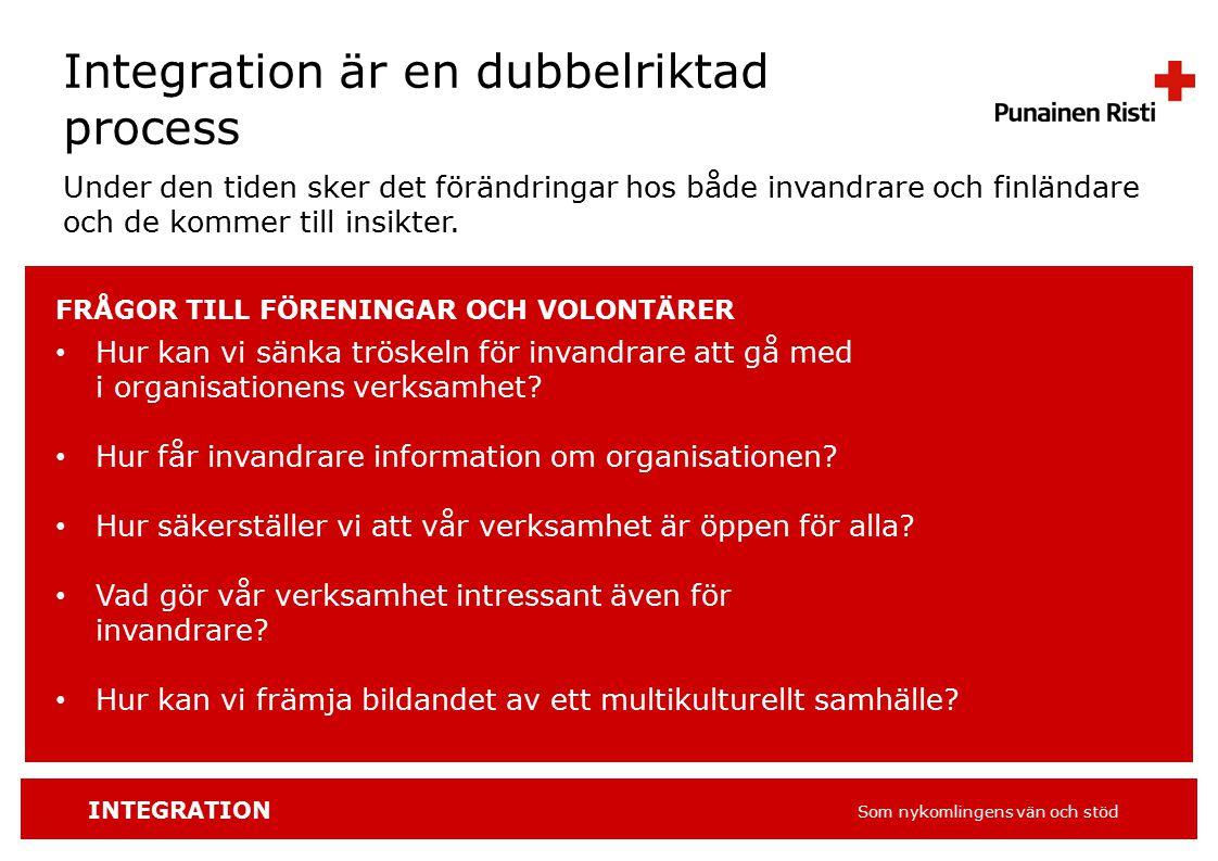 INTEGRATION Som nykomlingens vän och stöd Integration är en dubbelriktad process Under den tiden sker det förändringar hos både invandrare och finländare och de kommer till insikter.