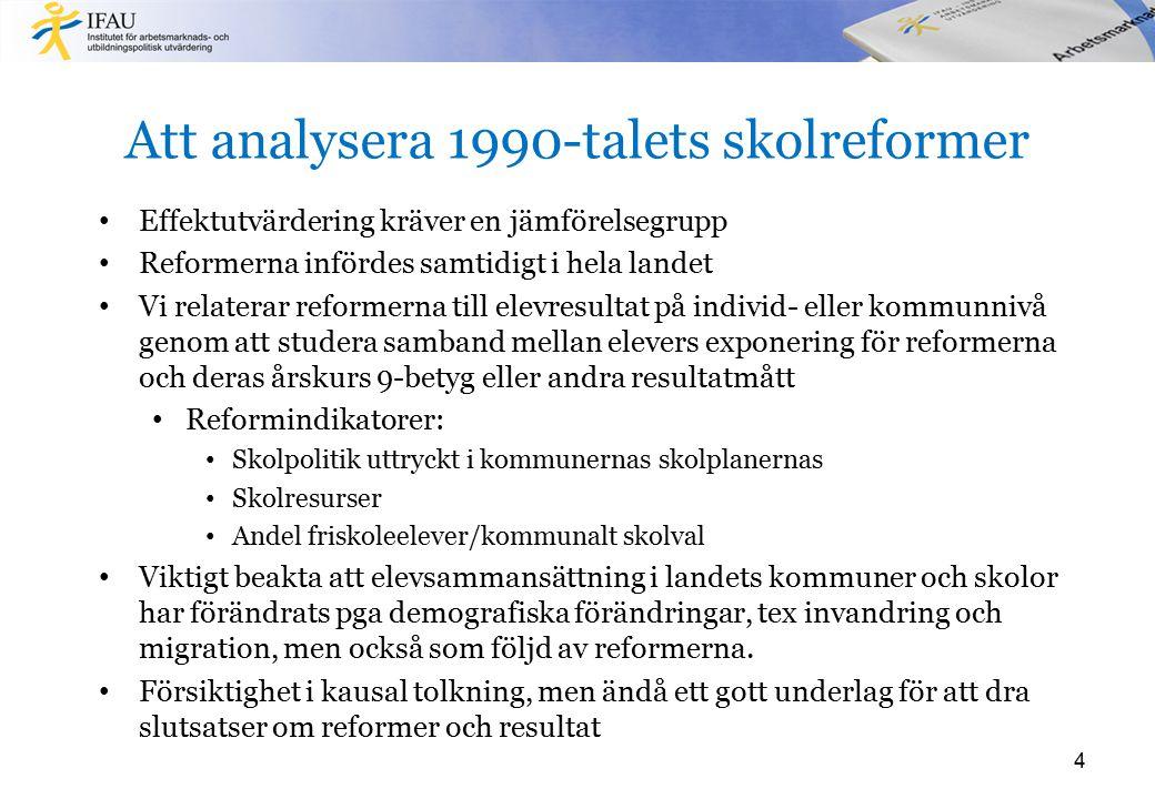 Att analysera 1990-talets skolreformer Effektutvärdering kräver en jämförelsegrupp Reformerna infördes samtidigt i hela landet Vi relaterar reformerna