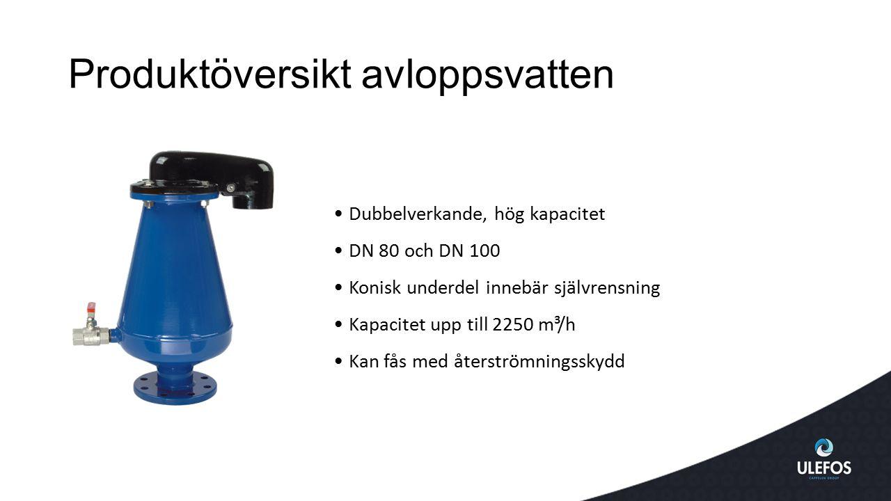 Produktöversikt avloppsvatten Dubbelverkande, hög kapacitet DN 80 och DN 100 Konisk underdel innebär självrensning Kapacitet upp till 2250 m³/h Kan få