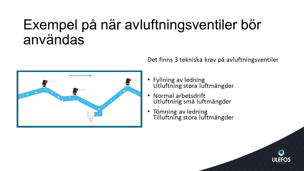 Exempel på när avluftningsventiler bör användas Det finns 3 tekniska krav på avluftningsventiler Fyllning av ledning Utluftning stora luftmängder Norm