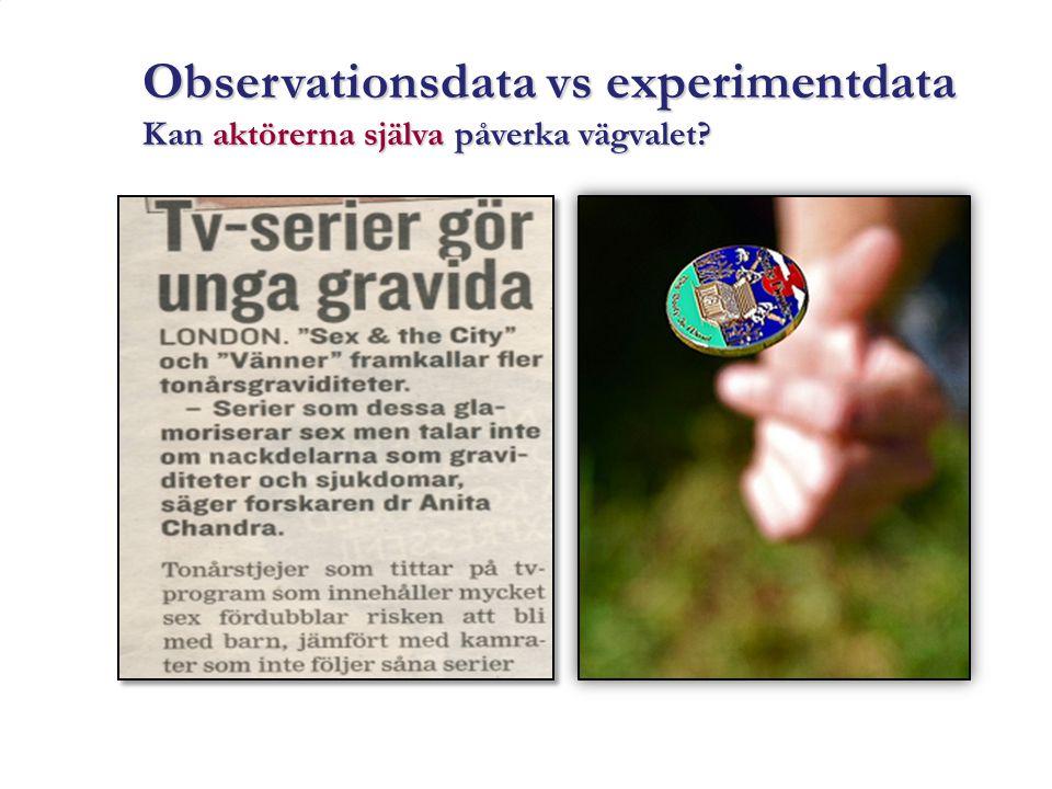 Observationsdata vs experimentdata Kan aktörerna själva påverka vägvalet?