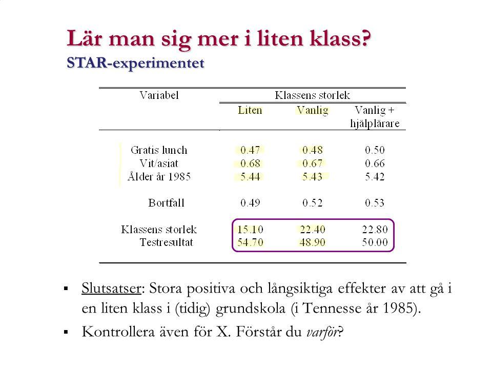  Slutsatser: Stora positiva och långsiktiga effekter av att gå i en liten klass i (tidig) grundskola (i Tennesse år 1985).  Kontrollera även för X.