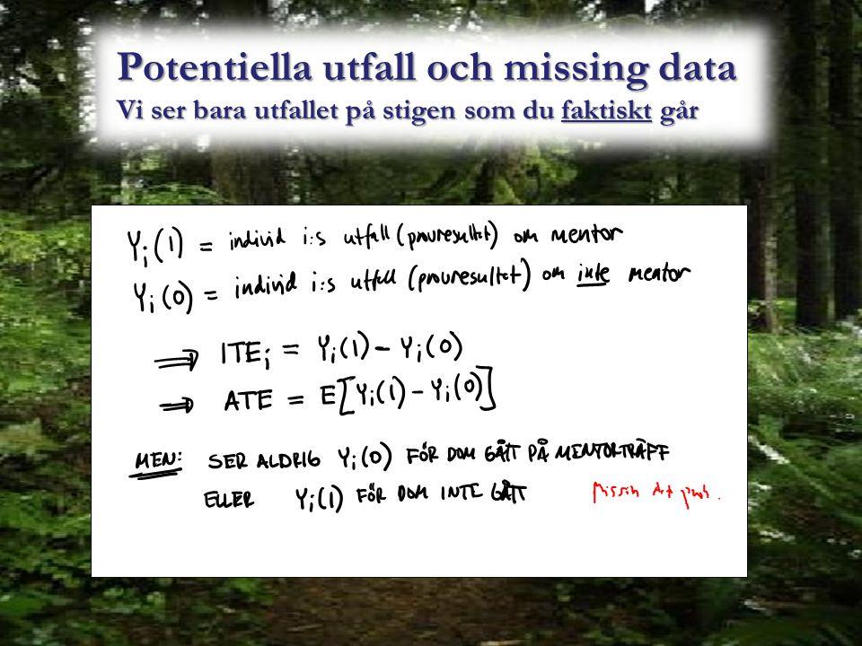 Potentiella utfall och missing data Vi ser bara utfallet på stigen som du faktiskt går