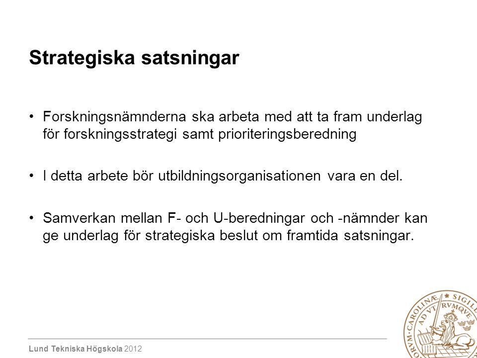 Lund Tekniska Högskola 2012 Strategiska satsningar Forskningsnämnderna ska arbeta med att ta fram underlag för forskningsstrategi samt prioriteringsberedning I detta arbete bör utbildningsorganisationen vara en del.