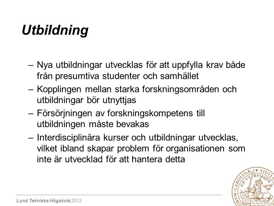 Lund Tekniska Högskola 2012 Grundutbildning Program – mål, syfte –baserat på programmets behov kan man identifiera vilka ämnesområden som måste finnas för att programmet ska ha bra kvalitet - forskning ska finnas inom området Forskningsdriven utbildning: –program skapas baserat på kompetenser.
