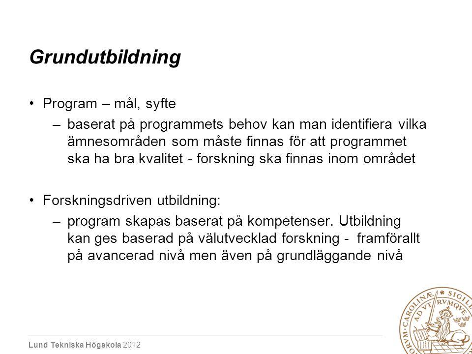 Lund Tekniska Högskola 2012 Grundutbildning Program – mål, syfte –baserat på programmets behov kan man identifiera vilka ämnesområden som måste finnas
