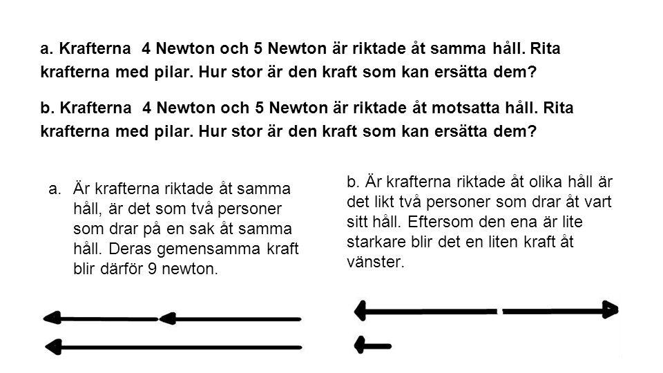 a. Krafterna 4 Newton och 5 Newton är riktade åt samma håll. Rita krafterna med pilar. Hur stor är den kraft som kan ersätta dem? b. Krafterna 4 Newto