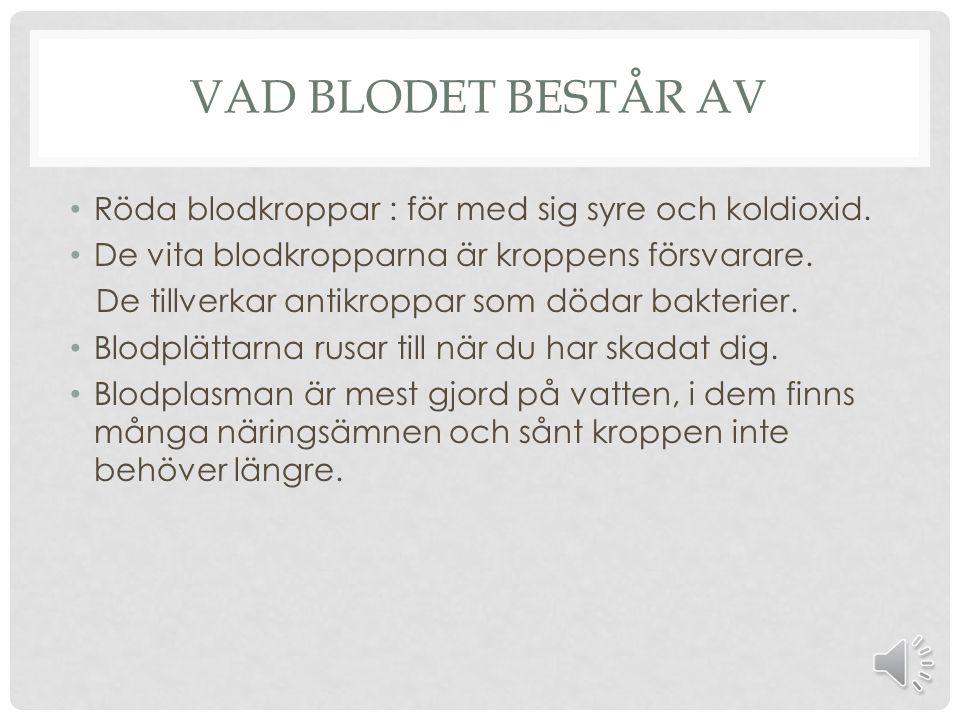 VAD BLODET BESTÅR AV Röda blodkroppar : för med sig syre och koldioxid.