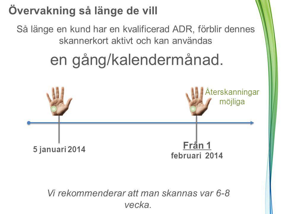 Övervakning så länge de vill Så länge en kund har en kvalificerad ADR, förblir dennes skannerkort aktivt och kan användas en gång/kalendermånad.